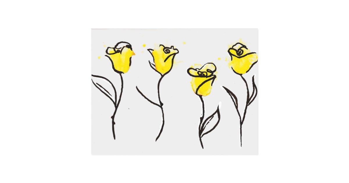 Zonta Postcard Yellow Rose Line Drawing Zazzle Co Uk