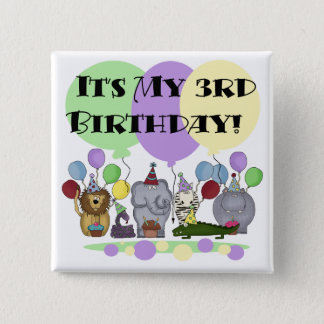 Zoo Animals 3rd Birthday Tshirts and Gifts 15 Cm Square Badge