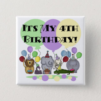 Zoo  Animals 4th Birthday Tshirts and Gifts 15 Cm Square Badge