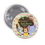 Zoo Animals Baby Shower, Bright Rainbow Stripes Badges