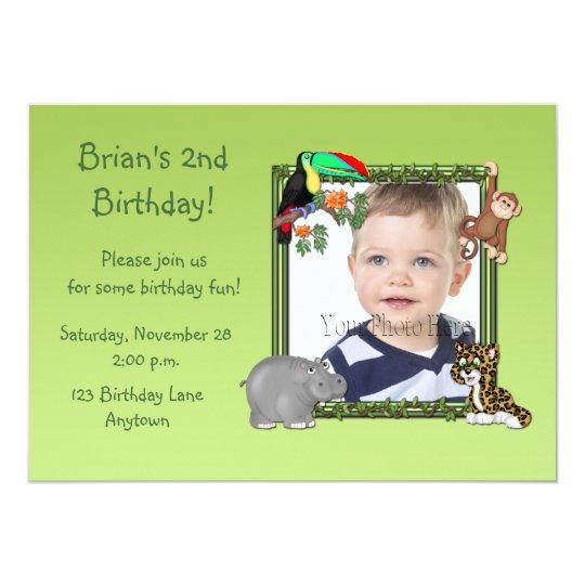Zoo Animals Birthday Photo Invitation