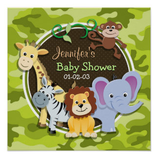 Zoo Animals; bright green camo, camouflage Print