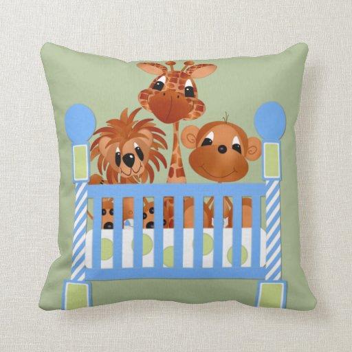 Animal Nursery Pillows : Baby Zoo Animals Nursery