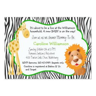 Zoo Animals Gender Neutral Baby Shower 13 Cm X 18 Cm Invitation Card