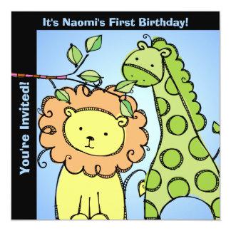 Zoo Animals Giraffe Lion Birthday Custom Invites