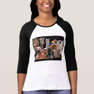 Zoo animals Ladies 3/4 Sleeve Raglan (Fitted) Shirt