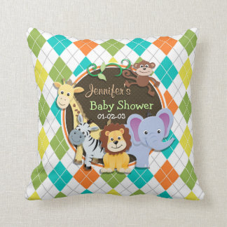 Zoo Animals on Colorful Argyle Cushion