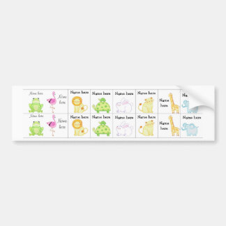 Zoo animals sippy cup labels bumper stickers