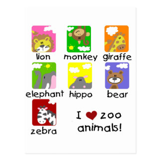 Zoo Animals Tshirts and Gifts Post Cards