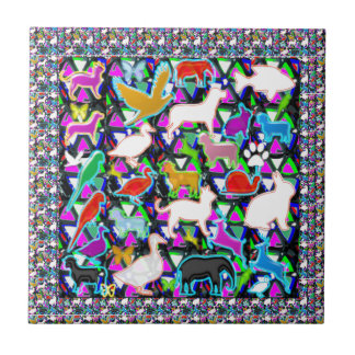 Zoo birds animals fish pet wild kids NVN708 GIFTS Small Square Tile