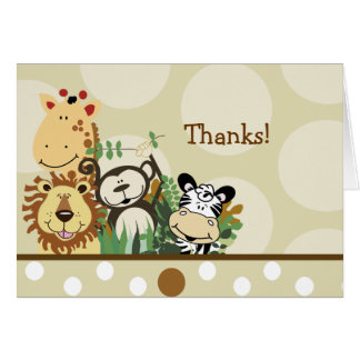 ZOO CREW Animals (Tan) Folded thank you note Card