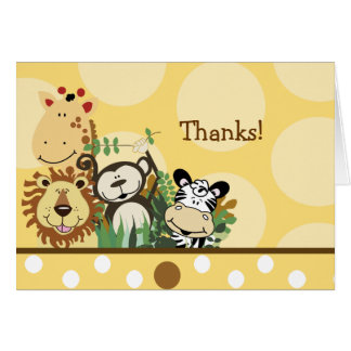 ZOO CREW Animals (Yellow) Folded thank you note Card
