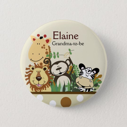 ZOO CREW JUNGLE NAME TAG Personalised Button