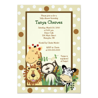 ZOO CREW Jungle Safari Baby Shower 5x7 13 Cm X 18 Cm Invitation Card