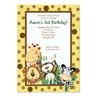 ZOO CREW Jungle Safari BIRTHDAY INVITE 5x7