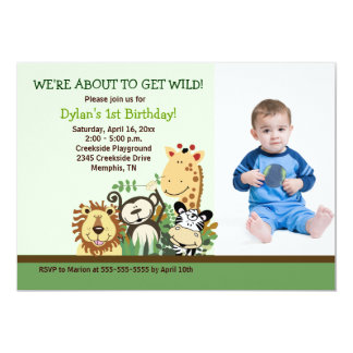 Zoo Crew Jungle Safari *PHOTO* Birthday 5x7 13 Cm X 18 Cm Invitation Card