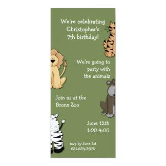 Zoo Pals Invitaion 10 Cm X 24 Cm Invitation Card