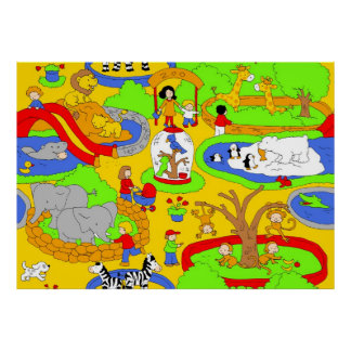 Zoo scene poster