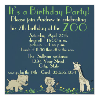 Zoo Themed  Birthday Party Card