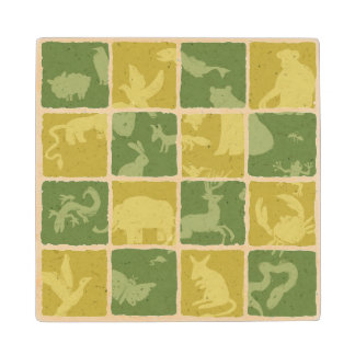 zoo themed pattern wood coaster