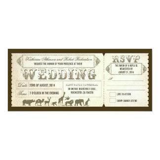Zoo wedding invitation tickets