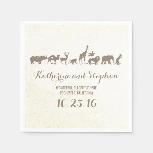 zoo wedding or safari wildlife paper napkins