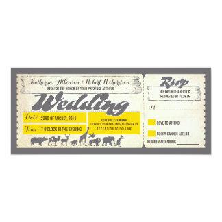 Zoo wildlife animals wedding invitation tickets