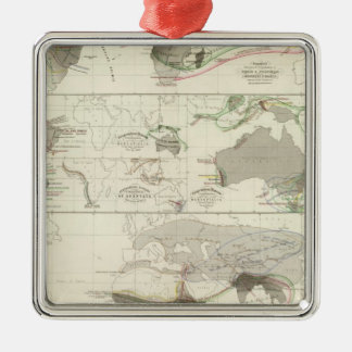 Zoological geography Silver-Colored square decoration