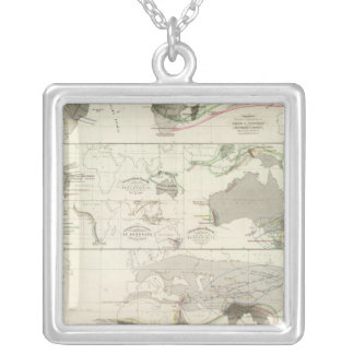 Zoological geography silver plated necklace