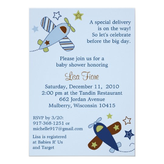 Zoom Along Aeroplane Baby Shower Invitations