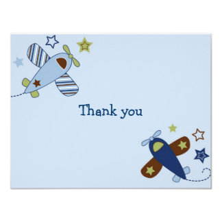 Zoom Along Airplane Aviator Thank You Note Cards 11 Cm X 14 Cm Invitation Card