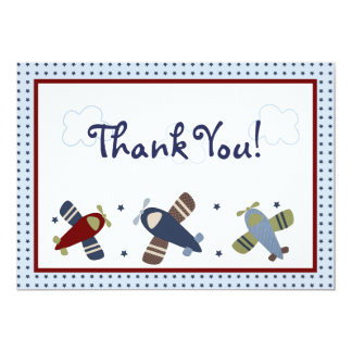Zoom Along Airplane Thank You Card 13 Cm X 18 Cm Invitation Card