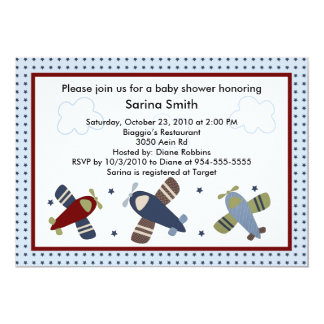 Zoom Along/Airplanes Baby Shower Invitations