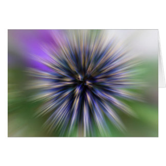 Zoom Flower Purple and Green Digital Art Blank Greeting Card