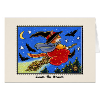 Zoom the Broom Halloween Cat Card Greeting Card