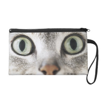 Zoom-up of cat face wristlet purse