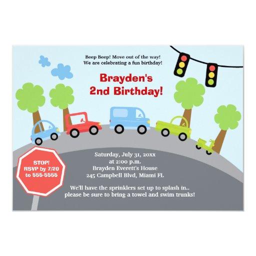 Zoom Zoom Cars Custom Birthday Invitation 13 Cm X 18 Cm Invitation Card