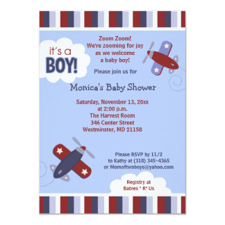 Zooming Airplane Invitation Red and Navy