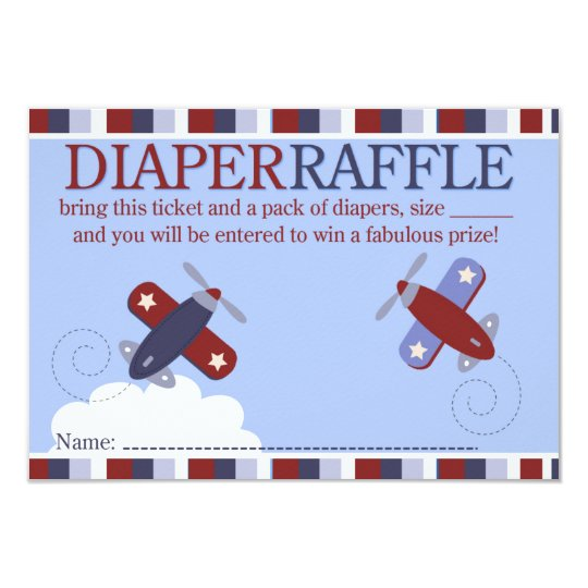 Zooming Along Aeroplane Shower Diaper Raffle Card