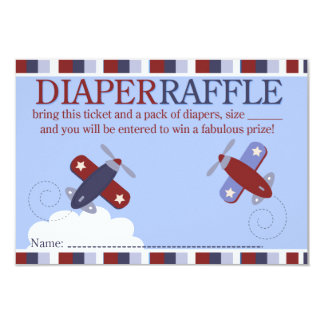 Zooming Along Airplane Shower Diaper Raffle Card 9 Cm X 13 Cm Invitation Card