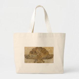 Zoroastrian Faravahar Symbol Large Tote Bag
