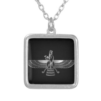 Zoroastrianism Faravahar Square Pendant Necklace
