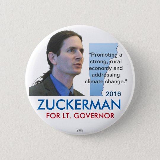 Zuckerman Democrat Lt. Governor VT 2016 Button
