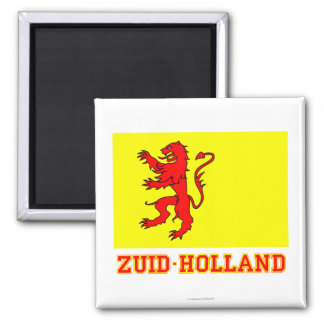 Zuid-Holland Flag with name Square Magnet