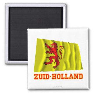 Zuid-Holland Waving Flag with Name Square Magnet