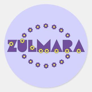 Zulmara de Flores Purpura Round Stickers