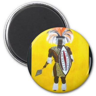 Zulu Warrior 6 Cm Round Magnet