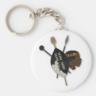 zulu warrior basic round button key ring