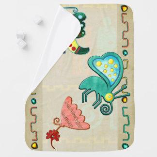 Zuni Butterfly 2 Folk Art Baby Blanket