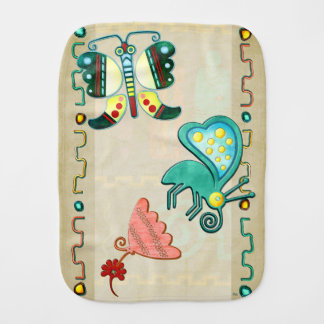 Zuni Butterfly 2 Folk Art Burp Cloths